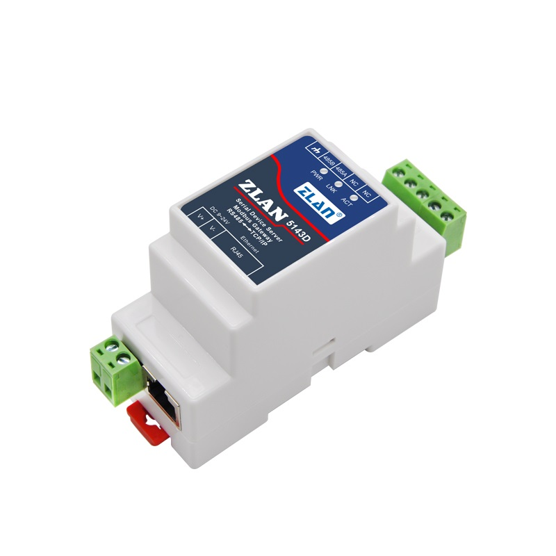 ZLAN5143D Din Rail Mounting Serial To Ethernet Device Server Modbus Gateway RS485  To TCP/IP DC9-24V