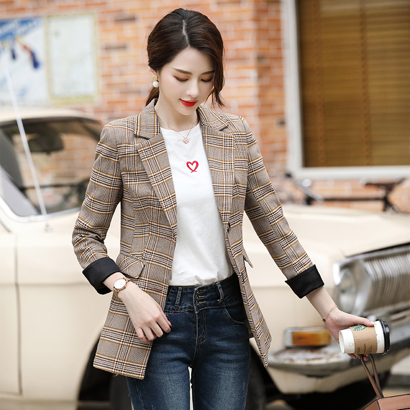Plaid Blazer Women England Office Lady Blazers And Jackets Autumn Jacket Oversized Coat Vintage Single Breasted Outerwear Notch