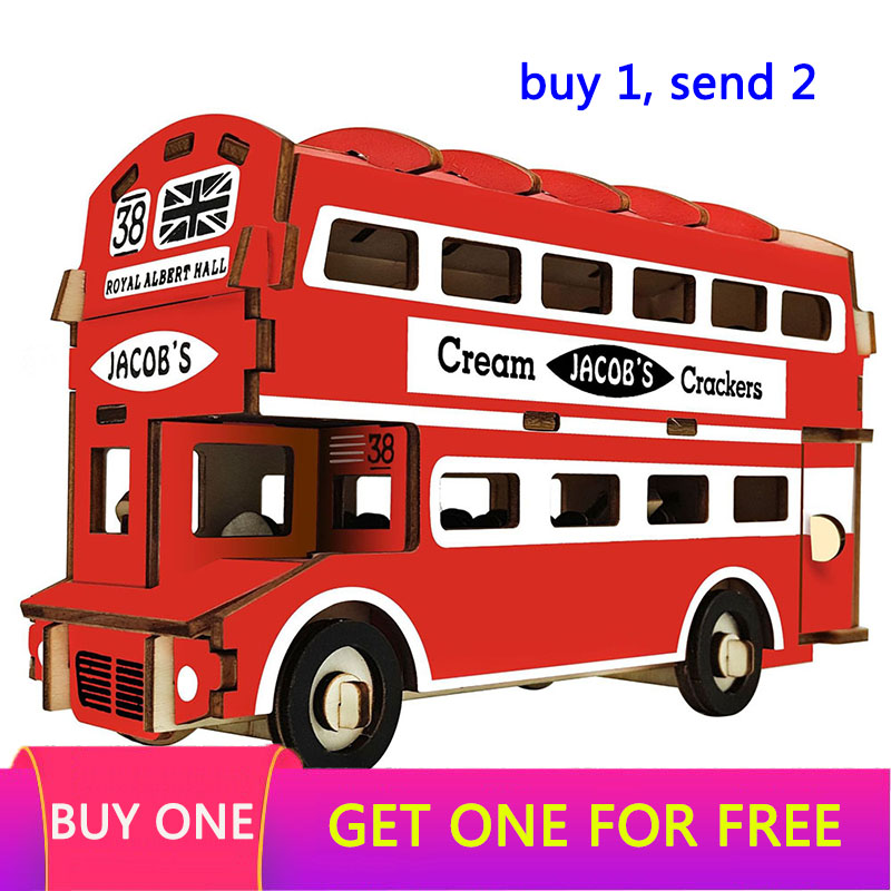 Laser Cutting DIY Car Motocycle Bus Toys 3D Wooden Puzzle Toy Assembly Model Woodcraft Kits Desk Decoration For Children Kids