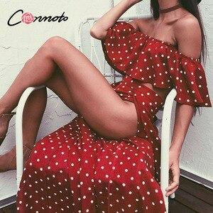 Image 2 - Conmoto Women Off Shoulder Red Vintage Dot Long Dress Summer Maxi Dress Chiffon Ruffle Sexy Beach Dresses Vestidos
