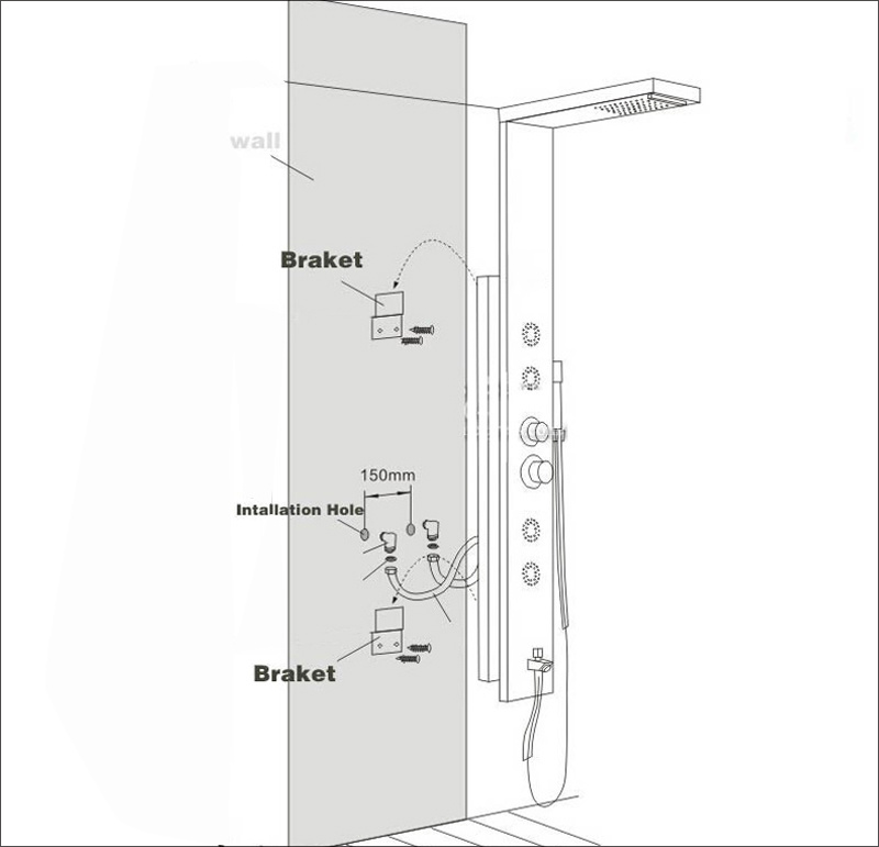 Ha18240893ef546f4bd394e53656d6ae9Q Newly Luxury Black/Brushed Bathroom Shower Faucet LED Shower Panel Column Bathtub Mixer Tap With Hand Shower Temperature Screen