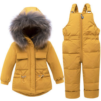 Toddler Boys Girl Clothes Sets Children's Down Jacket Winter Super Warm Hooded Real Fur Children Costume Snow Suit Thick