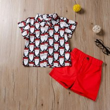 Fashion Leisure Children Set Two Piece Short Sleeve Shorts Boys Santa Claus Printed Shirt Pants For Kids Clothes Set
