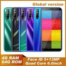 Оригинальные мобильные телефоны Note 8 Pro, 6,0 дюйма, 4 Гб ОЗУ 64 Гб ПЗУ, 13 МП, глобальные смартфоны, Android, разблокированные сотовые телефоны, быстра...