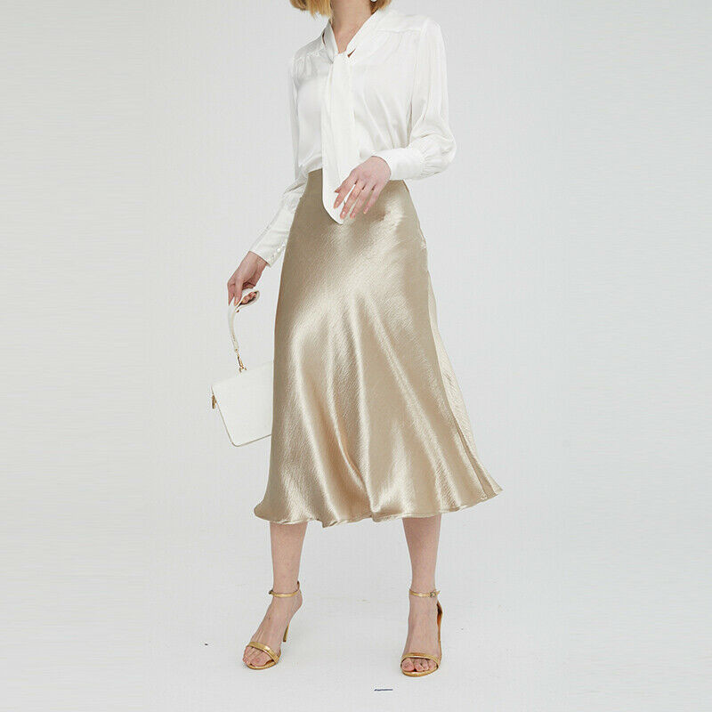 Satin High Waist Skirt Silver Gold Mid-Calf Skirt Metallic Color Party Skirt Plus Size