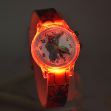 Spiderman Children Watches Cat Cartoon Electronic Colorful Light Source Child