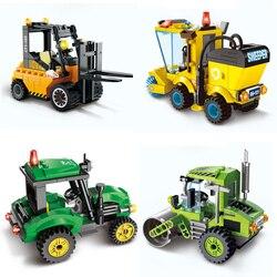 Legoinglys City Construction Road Roller Forklift Truck Tractor Sweeper Truck Building Blocks Bricks Toys For Children 1101-1104