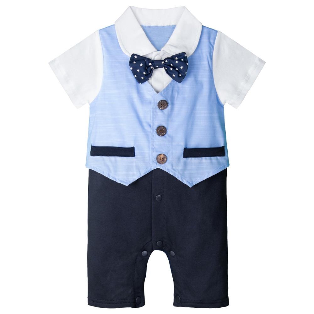 Newborn Baby Boy Bow Tie Romper Outfit Christening Wedding Birthday Formal Suit