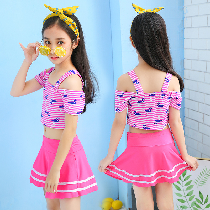 Wholesale New Products KID'S Swimwear Small Middle And Large Girls Split Type Skirt-Tour Bathing Suit GIRL'S Students Training S