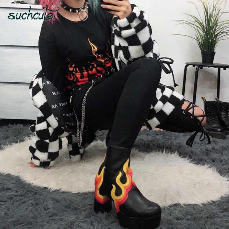 Suchcute Flame Fire Print Vrouwelijke T-shirts Gothic Shirt Vrouwen Solid Herfst 2019 Koreaanse Stijl Nieuwe Mode Vrouwelijke Tops Comfortabele