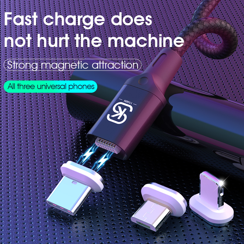 SIKAI 0.5m 1m 3A Magnetic <font><b>Cable</b></font> Micro <font><b>USB</b></font> Type C Fast Charge 3 <font><b>in</b></font> <font><b>1</b></font> Car Magnet Charging Wire <font><b>usb</b></font> c for iPhone Huawei Samsung image