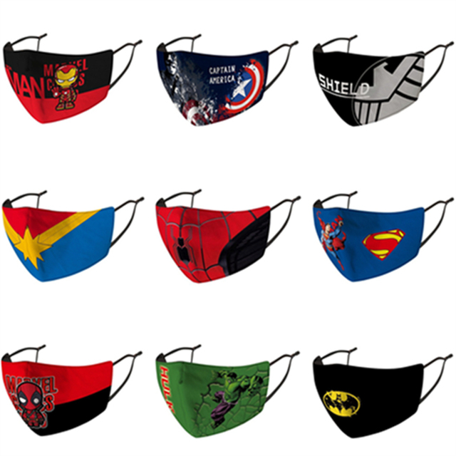 Children Superhero Mask Cosplay Superman Spider Iron Batman Man Child Kids Dust Proof Anti Fog Printing Washable Face Mask