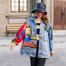 2020 אופנה החדש אחוי הדפסת Loose נצנצים ג ינס מעיל משלוח חינם