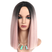 Straight Synthetic Wig Pink Ombre Black Medium Lady Hairpieces for White/Black Women Middle Part Toupee High Temperature Fiber stylish medium layered capless straight black browm mixed synthetic wig for women