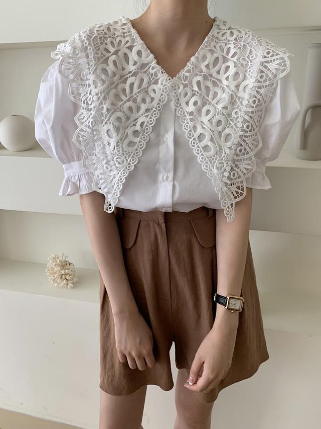 Ha18306aba4944dbe8d375fa67b856d85l - Summer Korean Butterfly Lace Lapel Short Puff Sleeves White Blouse