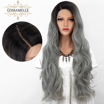 Gossamelle Ombre Gray Black Roots Synthetic Lace Front Wig Long Wave Synthetic Wigs For Women Grey Cosplay Wigs
