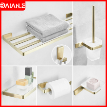 Stainless Steel Towel Bar Sets Brushed Gold Holder Rack Hanging Toilet Paper Coat Hook Bathroom Shelf