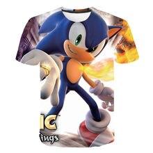 2021 he dernière Sonic le hérisson t-shirt garçon enfants T-shirt 3D impression dessin animé t-shirt enfants adolescent drôle décontracté hauts
