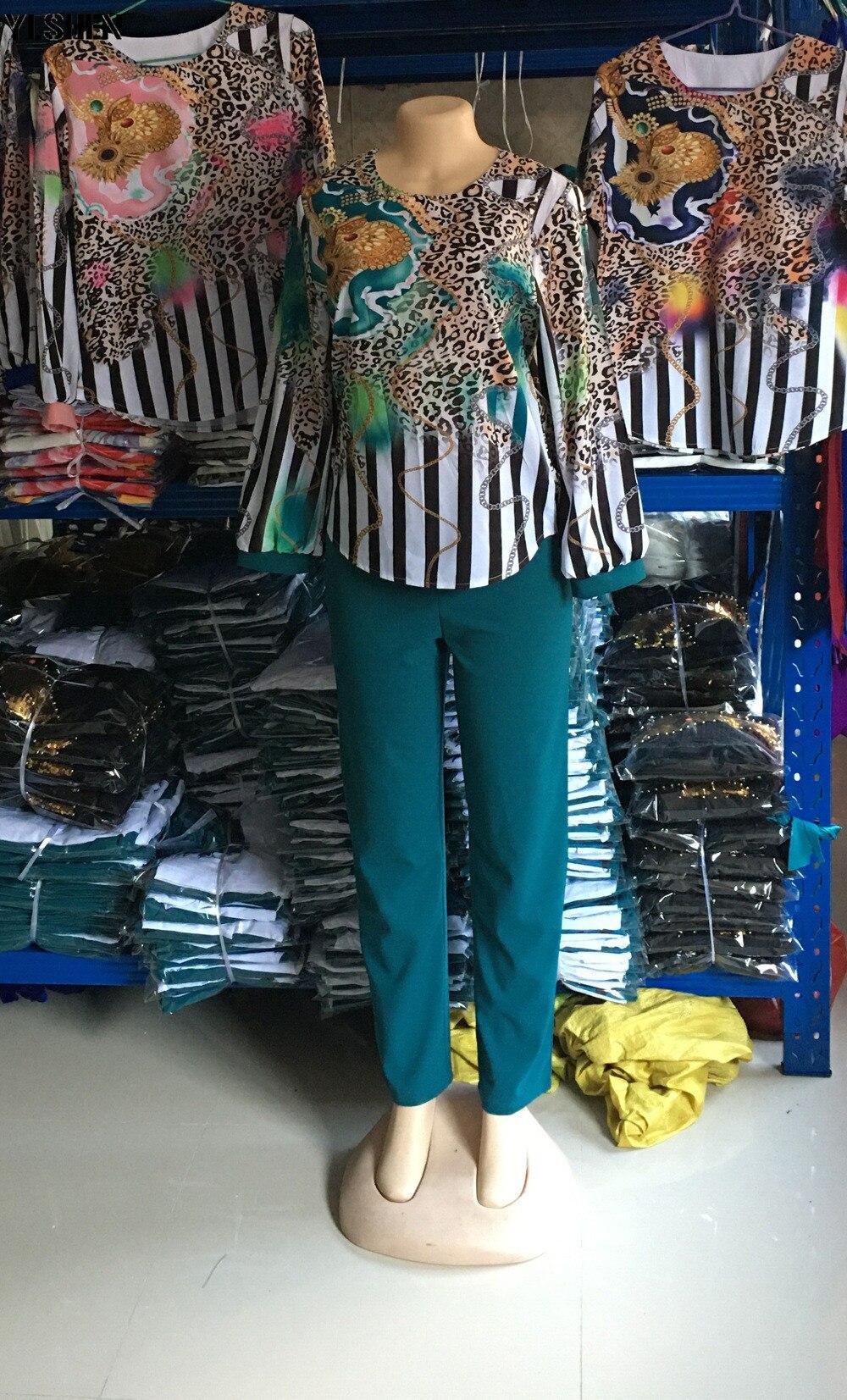 Two 2 Piece Set African Clothes Africa 2020 Dashiki Fashion Print Dresses Suit Bazin Top Pants Elastic Party Plus Size Clothing 12