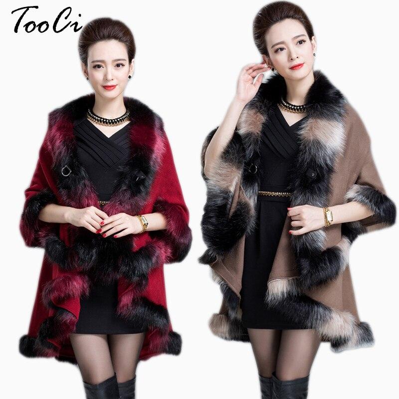 Nouveau Long automne hiver fausse fourrure manteau pardessus femmes kaki cachemire renard fourrure Pashmina cap lapin fourrure châle hiver chaud manteau