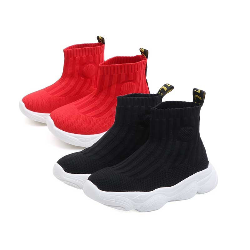 Black Children Sock Sneakers For Girl Baby Sneakers Spring 2019 Fashion Flying Mesh Toddler Boy Shoe Kids Casual Shoes Red|Sneakers| |  - title=
