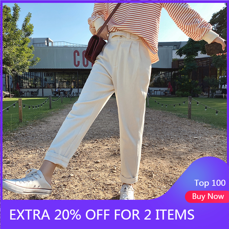 MISHOW 2020 Spring Pencil Pants Female Slim Solid Ankle Length Pantalones Casual High Waist Pencil Trousers Women MX20A2143