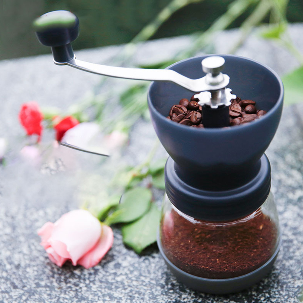 Kitchen Tools Manual Washable Black Conical Ceramic Burr Non-Slip Coffee Grinder Mill Cleaning Brush Portable Home Storage Jar