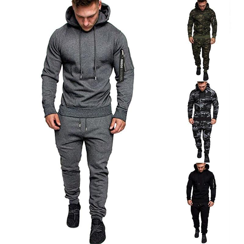 Casual Mens Tracksuit Hooded Sweatpants Set Male Solid Color Wild Sports Pants Suit 2 Pieces Sweatsuit Gym Tracksuits Men Sets