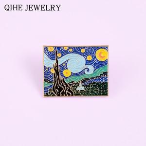 The Starry Night Enamel Pin Van Gogh Oil Painting Brooch Art Jewelry Artist Badge Backpack Lapel Pin Gift Women Men