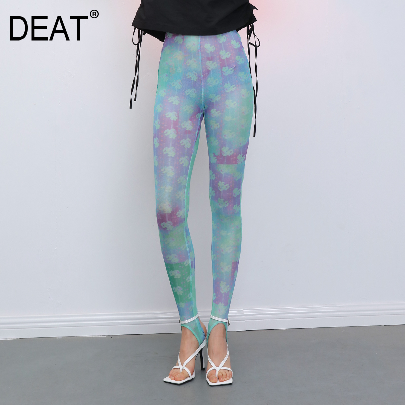DEAT 2020 New Mesh Clothes High Waist Slim Colorful Printed Full Lengths Leggings All Match Outfits WL80305L