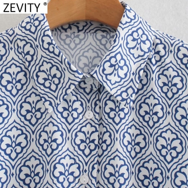 Zevity Women Vintage Totem Floral Print Big Swing Ruffles Mini Shirt Dress Female Chic Breasted Lace Up Sashes Vestidos DS8133 3
