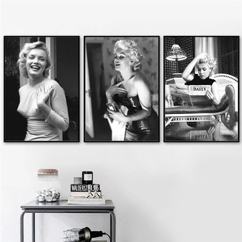 Marilyn Monroe Black & White Pictures Printed on Canvas 5