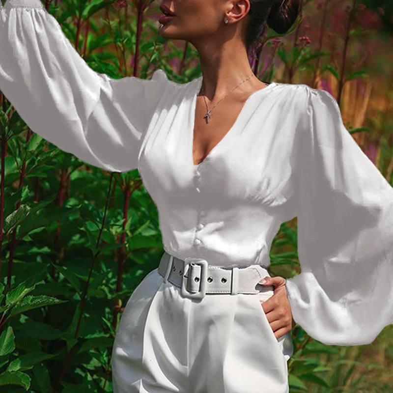 Elegant V Neck Tops Women's Puff Sleeve Blouse 2020 ZANZEA Elegant Button Down Blusas Female High Wasit Solid Tunic Plus Size