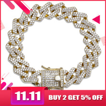 TOPGRILLZ Link-Chain Bracelet Jewelry Miami Cubic-Zircon Cuban Iced-Out Hip-Hop/punk