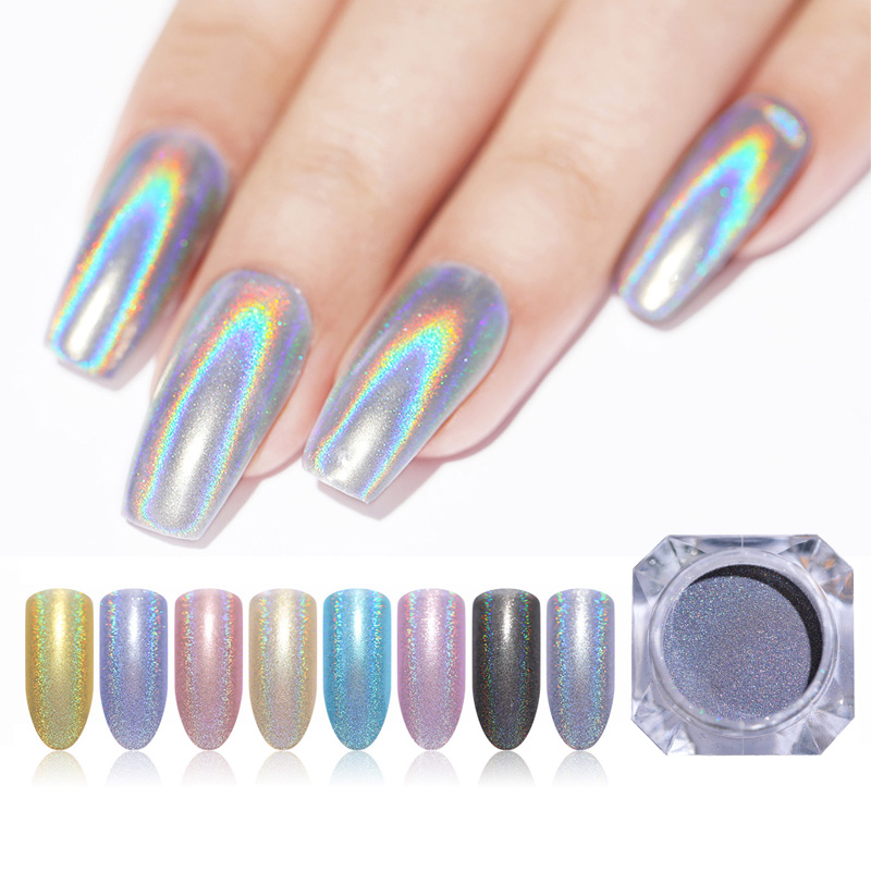 1g  Nail Powder Glitter Laser Holo Shimmer Nail Art Decorations  Shining Chrome Pigment Nail Glitter    - AliExpress