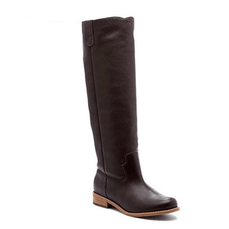 2019 หัวเข่าสูงแบนรองเท้าผู้หญิง PU หนังหนังนิ่ม SLIP ON Zapatos De Mujer Solid ขี่ฤดูหนาวรองเท้า