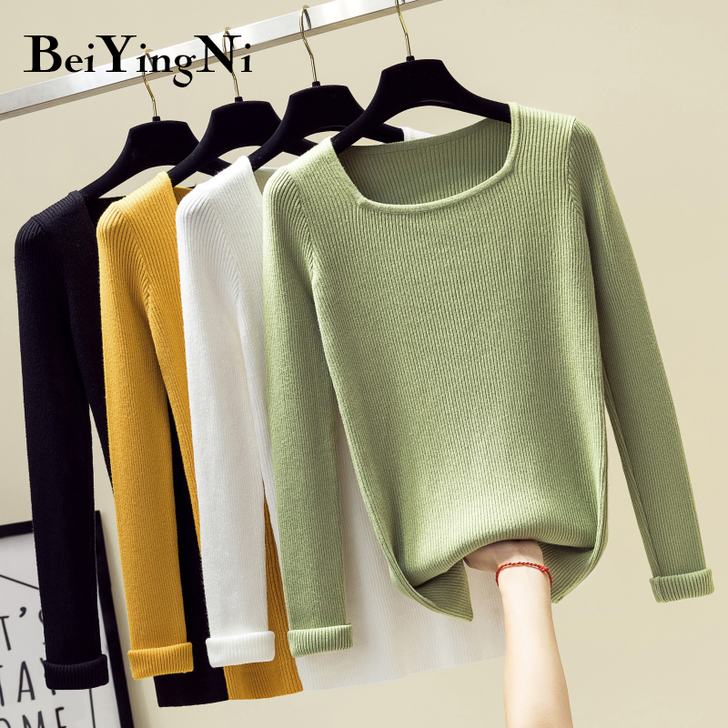 Beiyingni Square Collar Female Sweater Solid 9Colors Long Sleeve Slim Fit High Elastic Knit Jumper Femme Pink Casual Pullovers