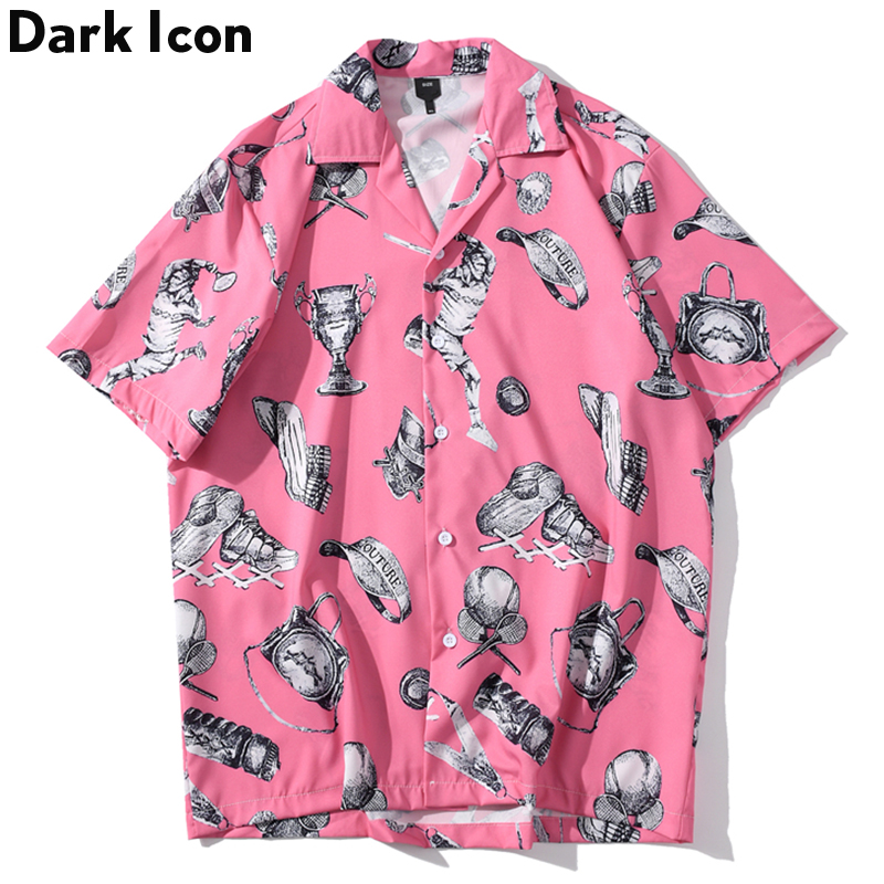 Dark Icon Full Printed Street Fashion Men's Shirt Short Sleeve 2020 Summer Turn-down Collar Vintage Hip Hop Shirts Men Cothing
