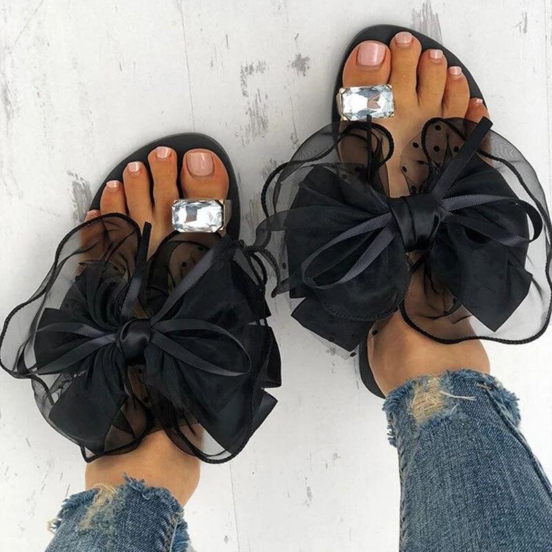 Verano Pantufla con pajarita pisos sandalias De plataforma De sandalias De moda Casual Mujer playa Chanclas De playa De malla De diapositivas Zapatos De Mujer Zapatillas de piel