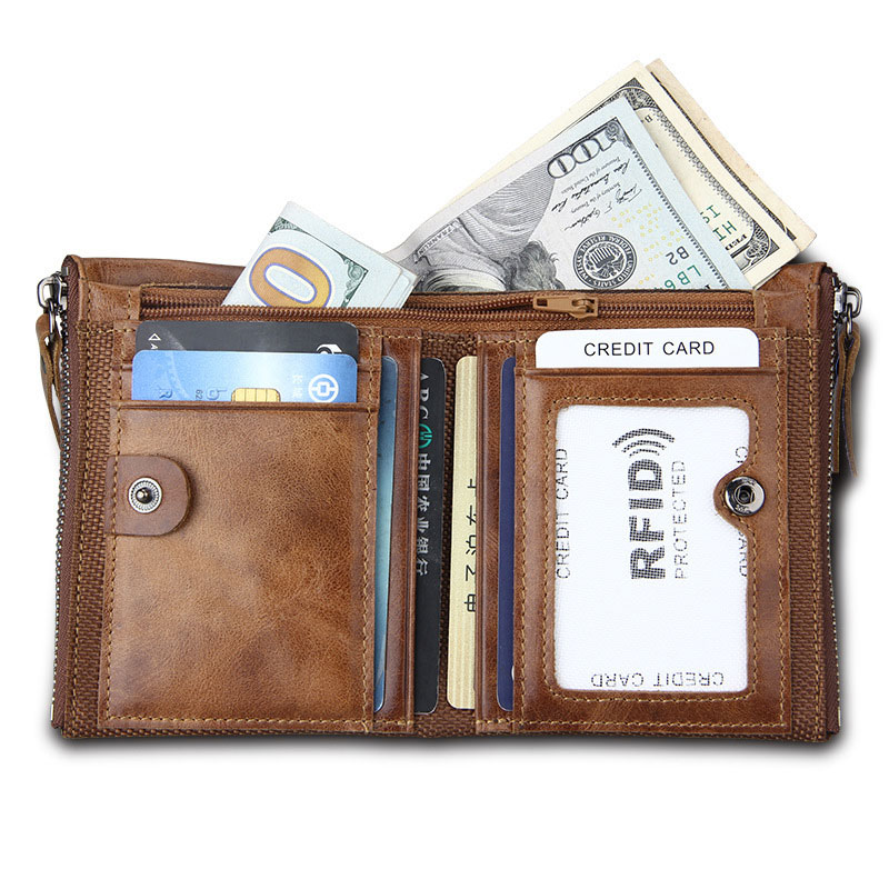 DIY Engraving Genuine Leather Men Wallets Credit Business Card Holders Double Zipper Cowhide Leather Male Wallet Purse Carteira in Wallets from Luggage Bags