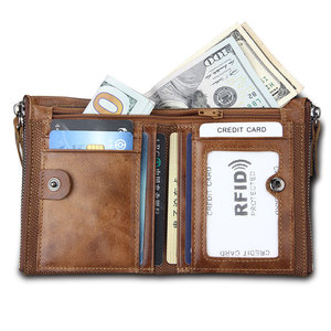 Image 3 - RFID Protected Free Engraving Genuine Leather Men Wallet Card Holders Wallets Double Zippers Coin Wallet Men Leather Short Purse