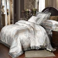 25 Sliver Golden Satin Jacquard bedding sets bed Duvet Cover set Super king size pillowcases Wedding decor quilt cover