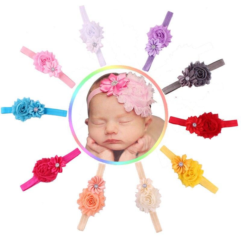 Bonito 10 pçs/lote Chiffon Flor Headband Do Bebê Meninas Elastic Faixa de Cabelo Acessórios de Cabelo Gasto Flor Sólida Cheveux Bebe