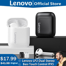 מקורי Lenovo LP2 LP1 מעודכן TWS אלחוטי אוזניות Bluetooth 5.0 כפולה סטריאו בס מגע בקרת IPX5 חיים עמיד למים עם מיקרופון