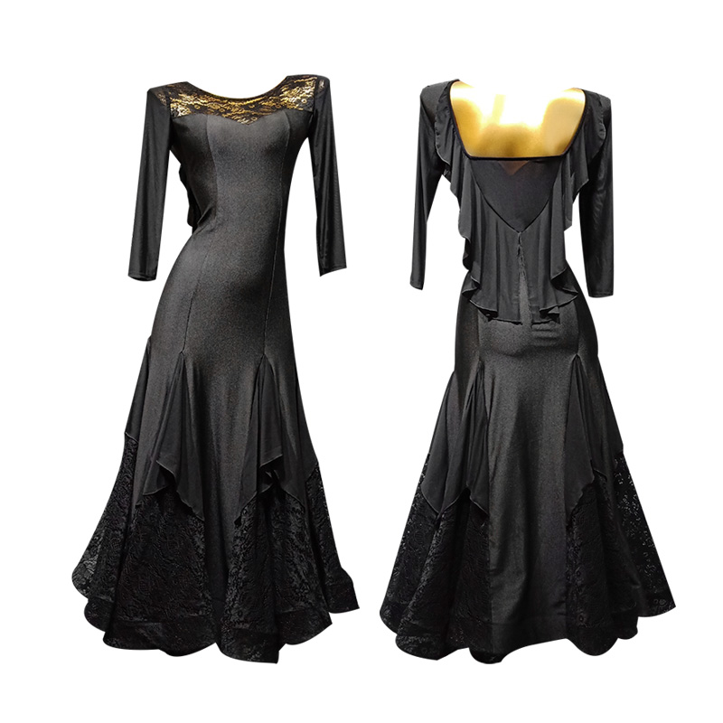 Robe de danse moderne femme adulte nouvelle robe de danse grand swing poisson os dentelle performance costume T016B