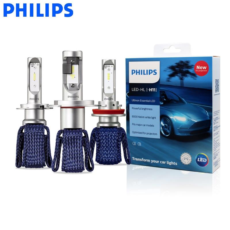 Светодиодные лампы Philips H4 H7 H8 H11 H16 9005 9006 9012 HB3 HB4 H1R2 Ultinon Essential LED Car 6000K для передних фар, противотуманные фары, 2 шт.