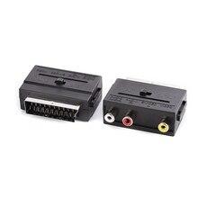 SCART To 3 konwerter kompozytowy Phono RCA z przełącznikiem In/Out, 100 sztuk/partia