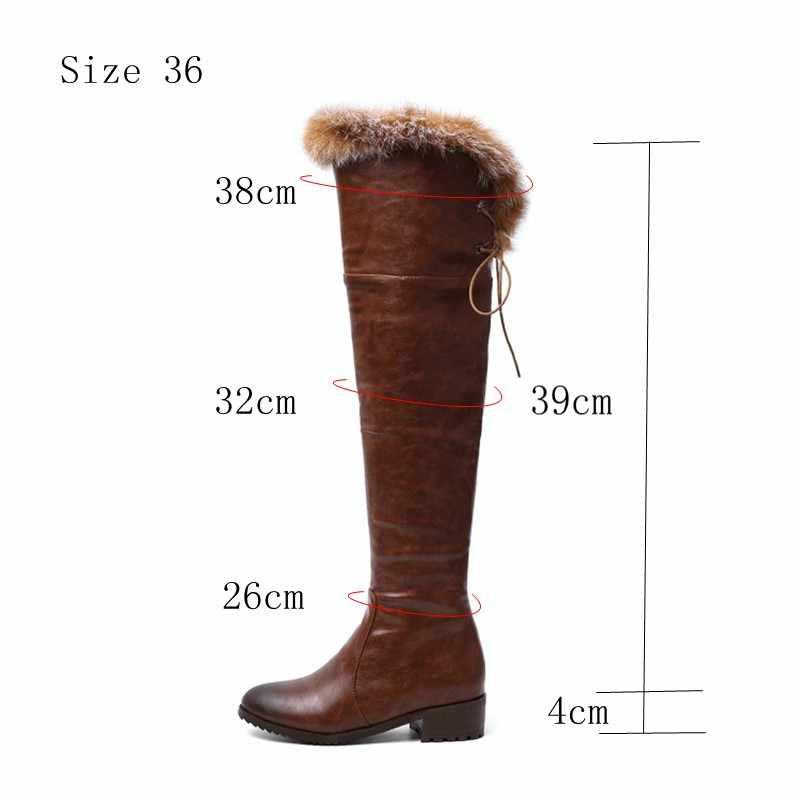 REAVE KEDI Kar Botları sıcak kürk Kadın deri çizmeler med blok topuklu Diz Çizmeler Üzerinde Bayan Kış ayakkabı bota feminina boyutu 44 46