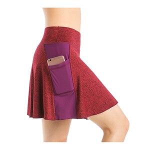 EAST HONG Women's Pocket Tennis Skort Workout Running Sport Golf Skirt with Inner Shorts Print Stretch Skort(China)