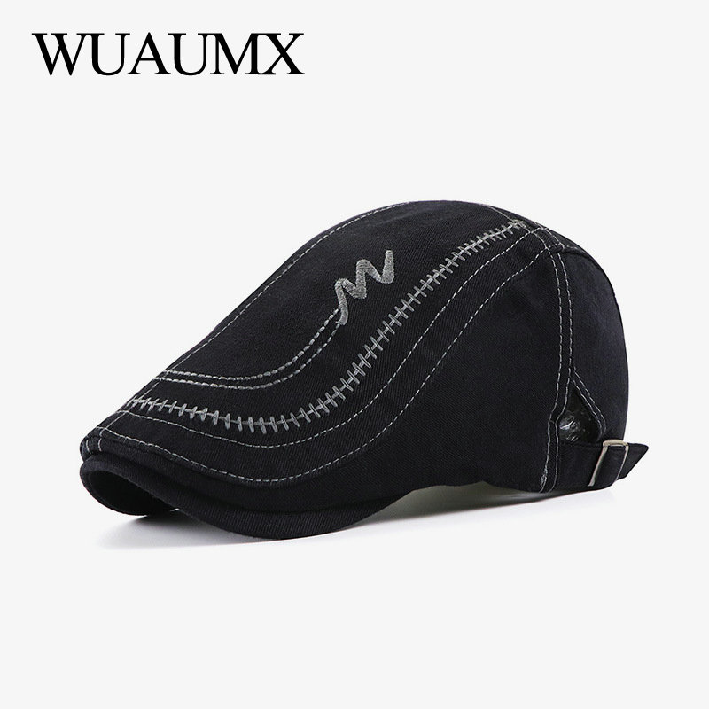 Wuaumx NEW Casual Berets Hat Men Women Washed Cotton Embroidery Visors Solid Peaked Caps Herringbone Flat Caps casquette beret